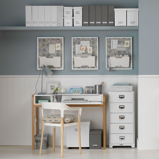 Home Office White Blue: Calming Pale Blue And White Home Office