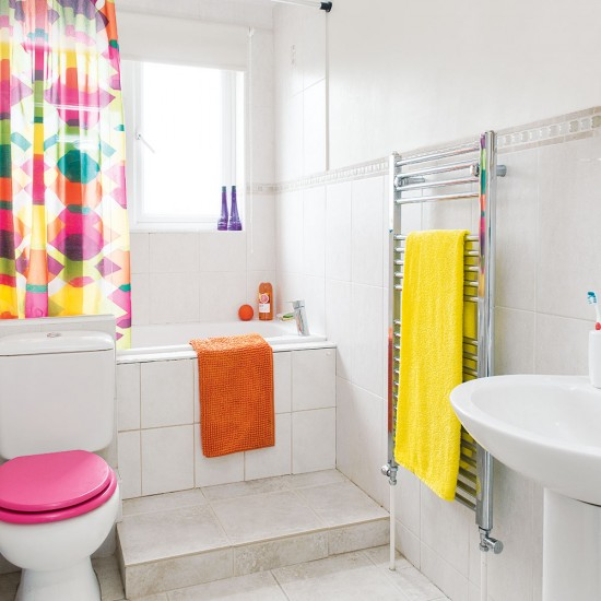 Pink And White Bathroom: White Bathroom With Pink Yellow And Orange Accessories