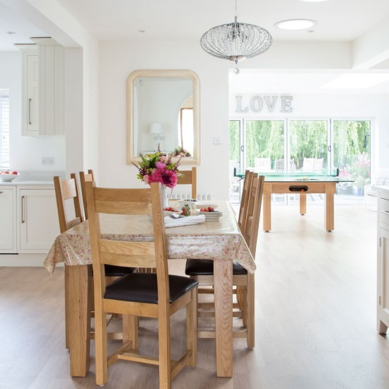 Kitchen Dining Area: Bright White Open-plan Kitchen With Pretty Dining Area