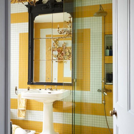 Bathroom Walls Sweating Yellow: Yellow Mosaic Tiled Feature Wall