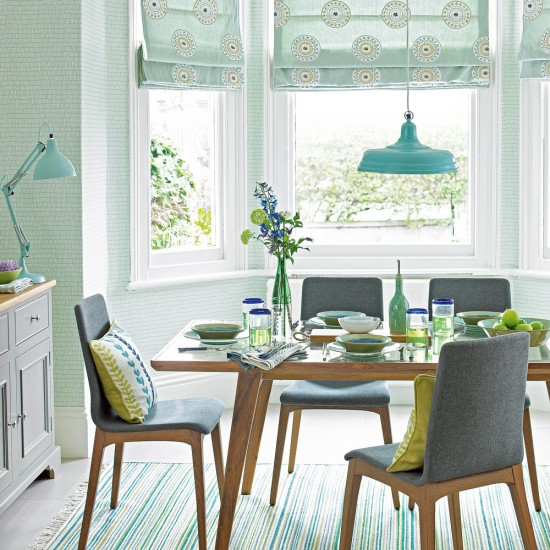 Mint Green Dining Room With Mid-century Style Furniture
