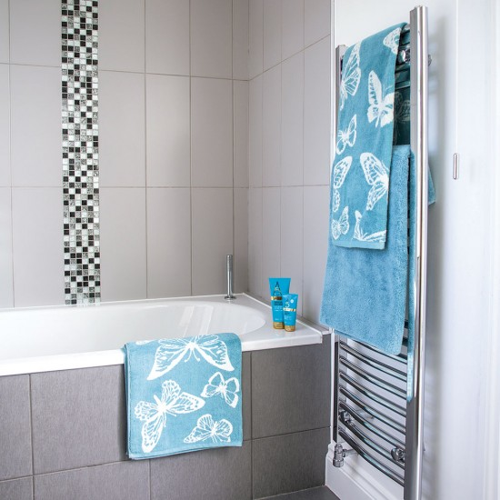 Grey Tiled Bathroom With Mosaic Details And Aqua Blue