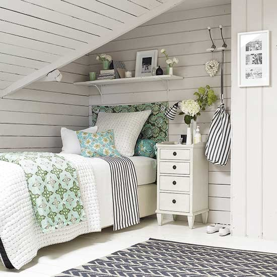 Beach House Style Attic Bedroom With Whitewashed Panelling