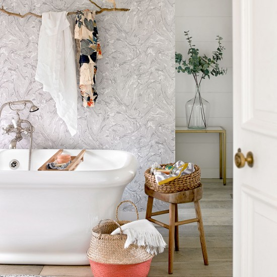Bath Wallpaper Ideas: Pastel Country Bathroom With Marbled Wallpaper