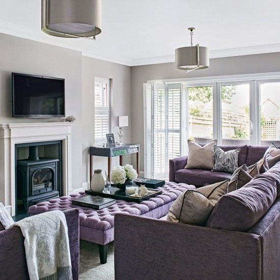 light grey living room with lilac sofa. Black Bedroom Furniture Sets. Home Design Ideas