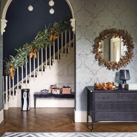 Sage Green Hallway: Sage Green Damask Hallway With Parquet Flooring And