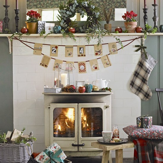 Christmas Decorated Homes: Country Christmas Living Room Ideas
